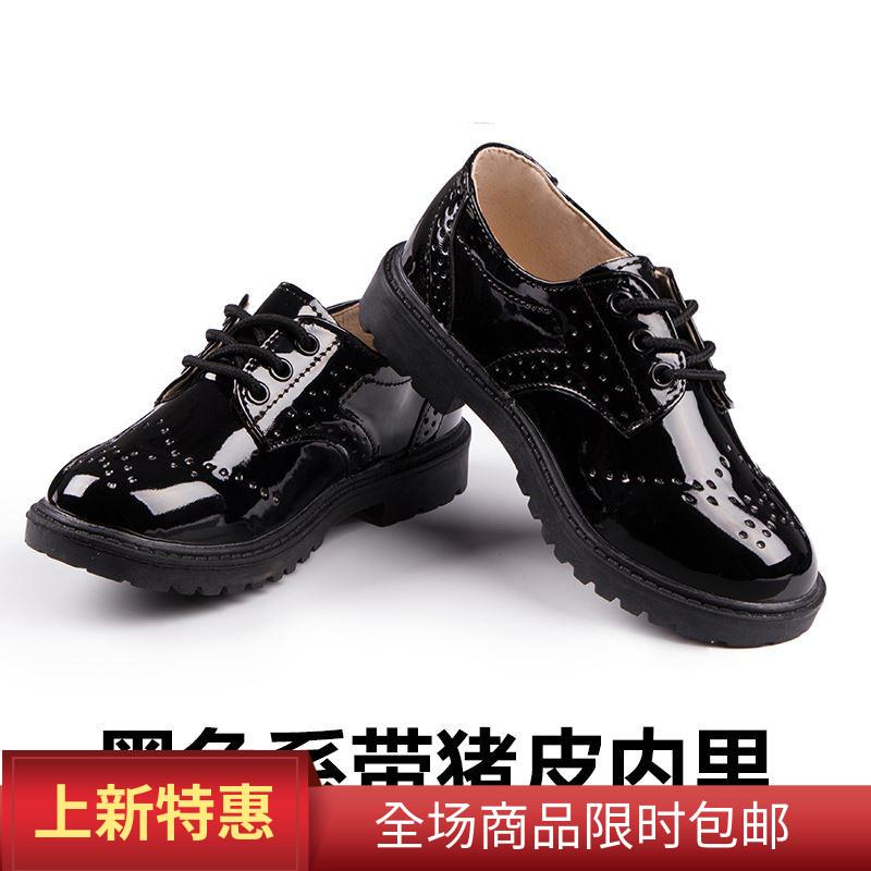 表演男童皮鞋小男孩英伦儿童春季黑色男生学生软底演出鞋花童新款,可领取元淘宝优惠券