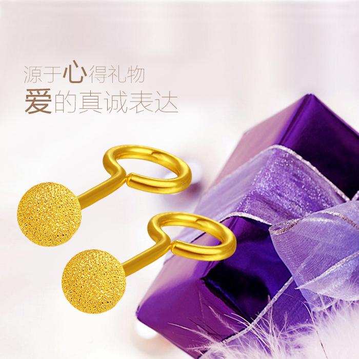 黄金耳钉纯金圆球光珠光面耳环耳坠耳饰防过敏迷你送妈妈女友礼物