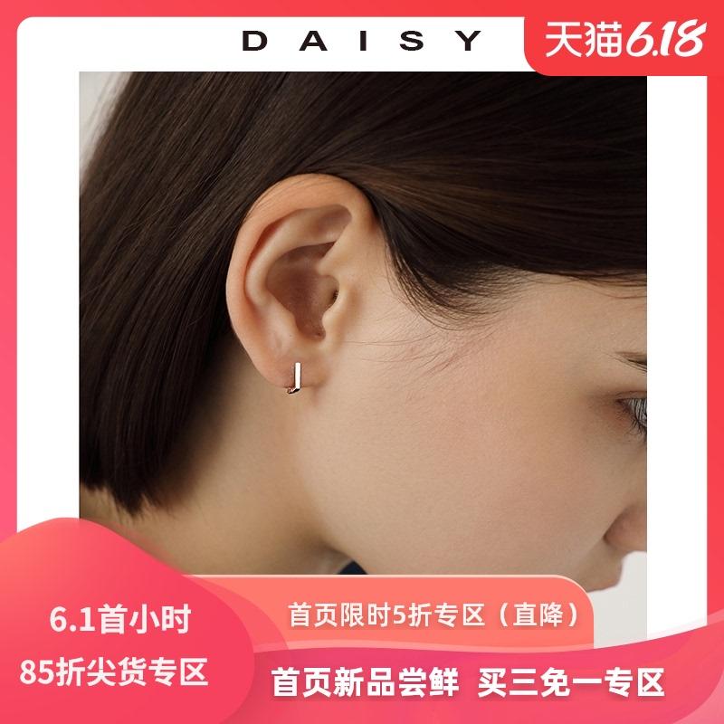 几何方形耳钉女纯银耳圈简约小巧设计感耳环2020年新款潮爆款耳饰