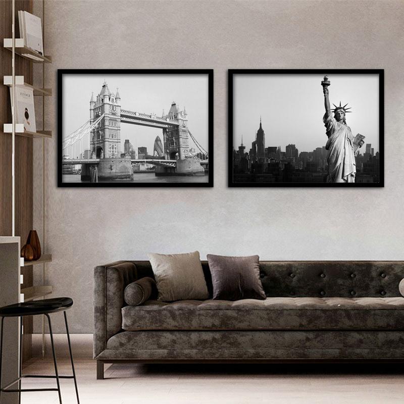 地标黑白酒店世界各国著名风景挂画