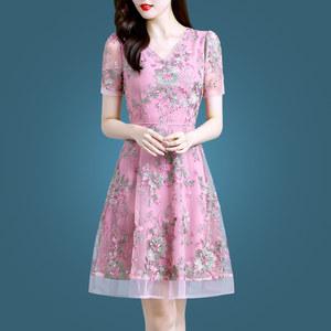 夏季裙子女短袖2021年新款夏装女装时尚气质40岁网纱碎花连衣裙潮