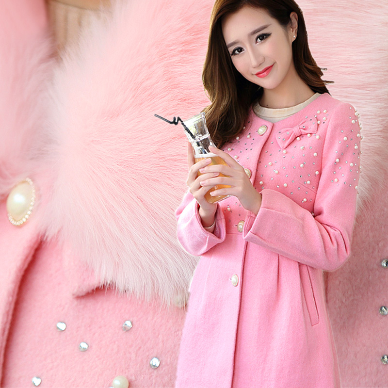 18-24 years old high end cashmere and woollen coat woollen coat womens medium and long Korean thickened 2018 new style