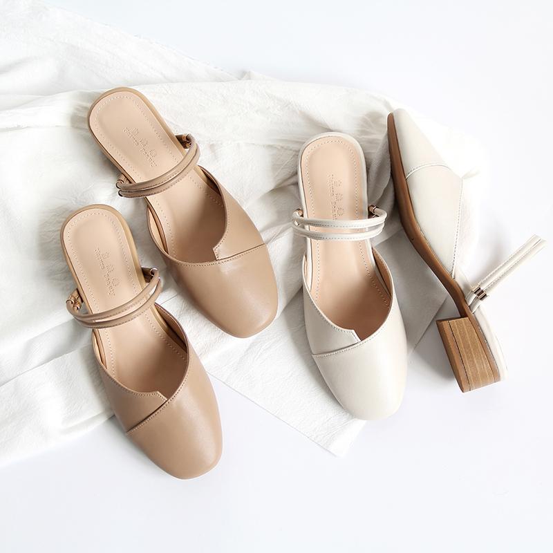 自然卷真皮日系文艺方头两穿凉鞋包头粗跟简约百搭女鞋软底穆勒鞋