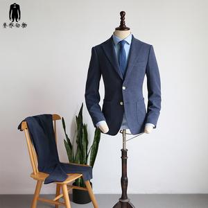 脊椎动物男装 牛仔蓝弹力修身西服西裤两件套装 欧美风职业装西装