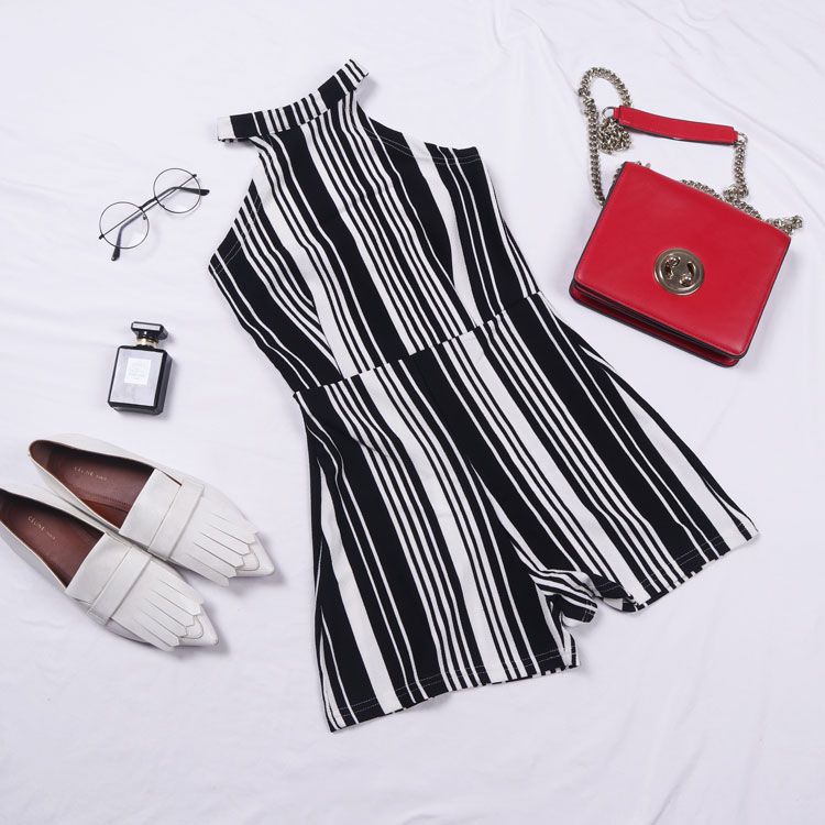 Hanging neck off shoulder one-piece shorts counter inventory womens fashion summer clothes cool black-and-white stripe light proof one-piece clothes