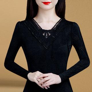黑色网纱打底衫早秋新款上衣秋款女装2021年新款胖人洋气遮肚小衫