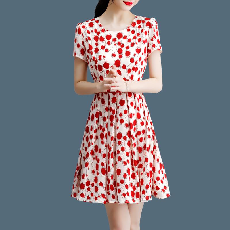 红色波点雪纺2019夏季新款显瘦短袖(非品牌)