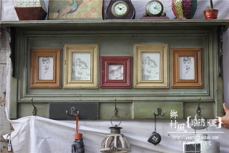 师款仿旧木质挂钩相框家具法式乡村大型壁挂设计五连铜搁物架组合