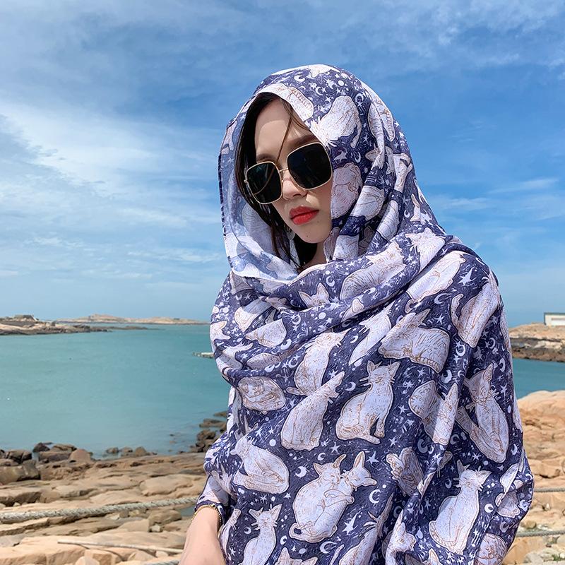 Net red wind silk scarf womens new summer shawl beach scarf versatile thin beach travel cat silk scarf