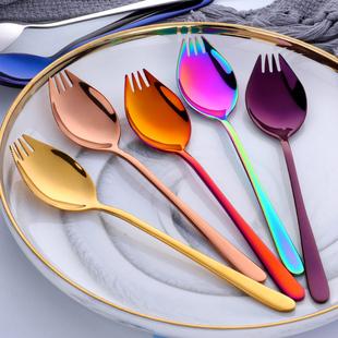 创意304不锈钢叉勺一体长柄 两用甜品沙拉勺叉泡面叉子面条叉勺
