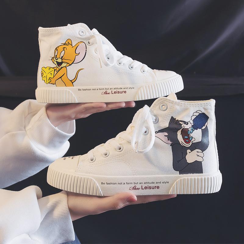 夏季薄款卡通少女孩板鞋高帮帆布鞋女鞋大码初中大童学生高腰球鞋