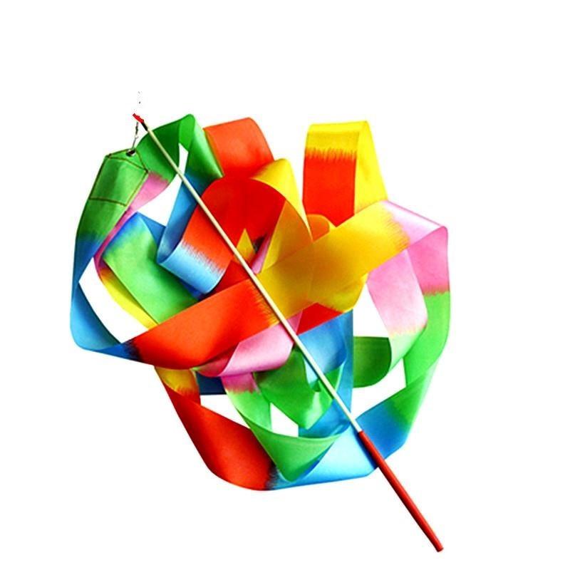 女款体操彩带舞蹈七彩色手腕彩绳艺术手甩儿童细带缎带舞龙。