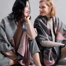 围巾女夏季双面格子大披肩外搭办公室空调房两用百搭加厚保暖斗篷图片