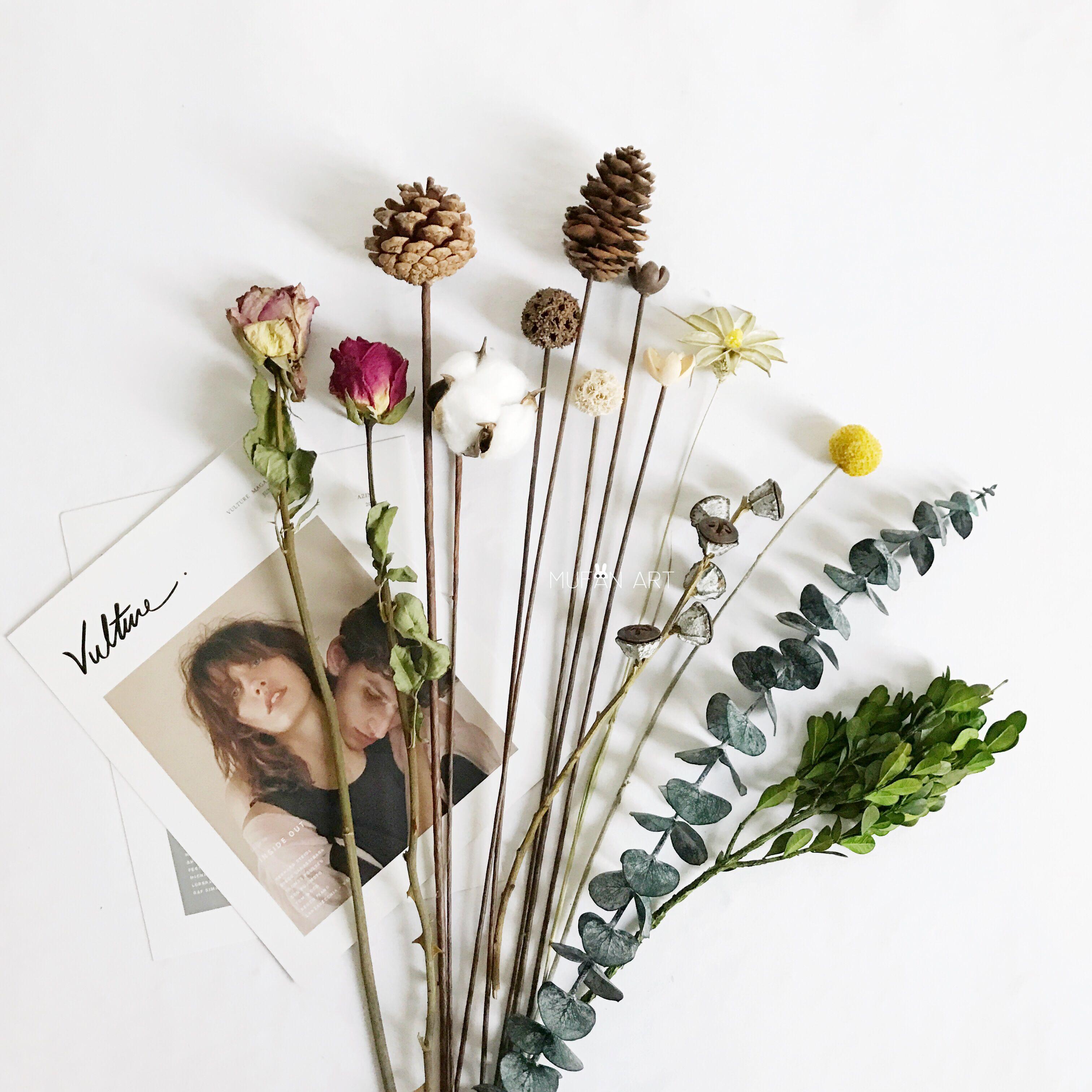 Природный сухие цветы золото мяч эвкалипт хлопок эхинацея свободный башня роуз паспарту домой декоративный цветочная композиция