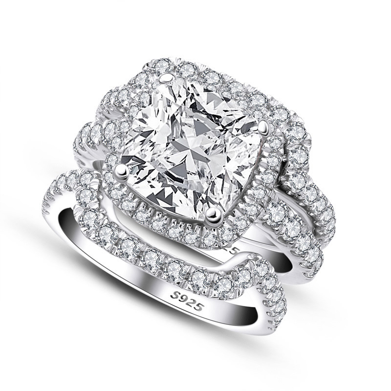 925 Sterling Silver womens diamond ring double row diamond seal ring Sona diamond engagement Sterling Silver Ring