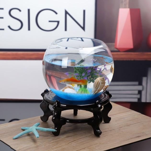 热销0件假一赔十鱼缸小型桌面创意 小 精致客厅圆形水培加厚迷你金鱼缸透明乌龟缸