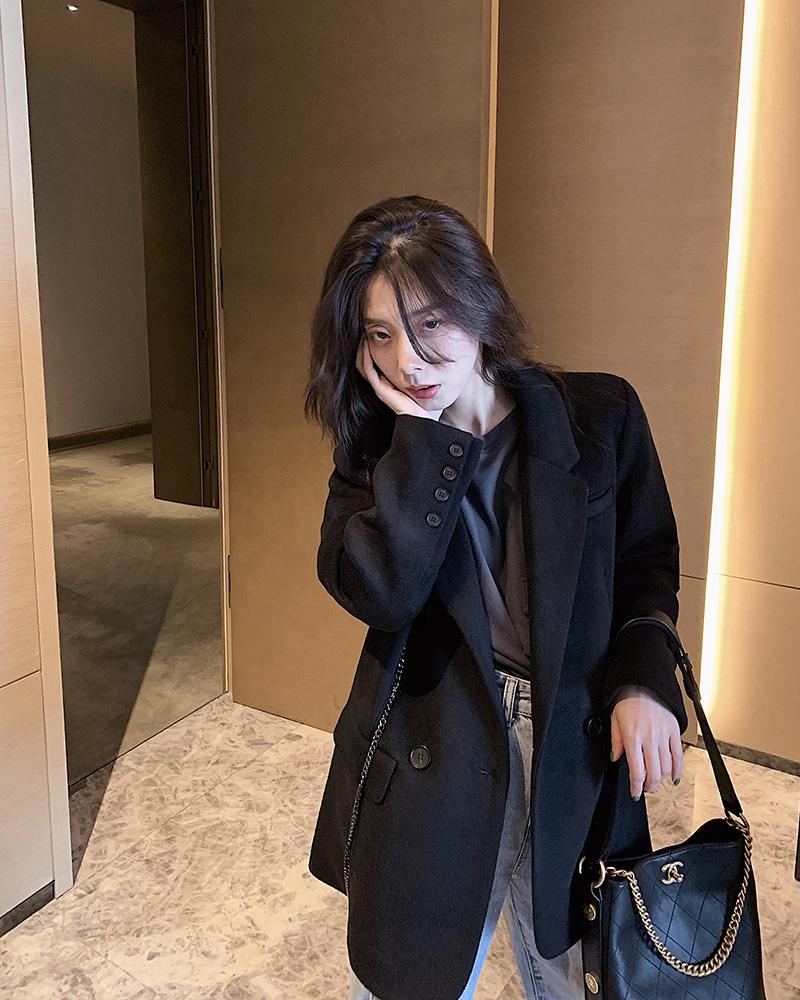 SUN11 黑色链条西装外套女2019冬季新款翻领宽松百搭加厚毛呢大衣