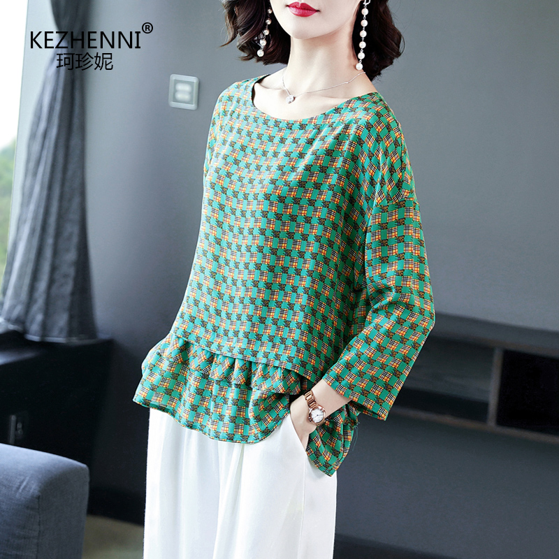 2020 spring and summer new womens silk T-shirt Plaid stitching lace round neck loose large silk blouse