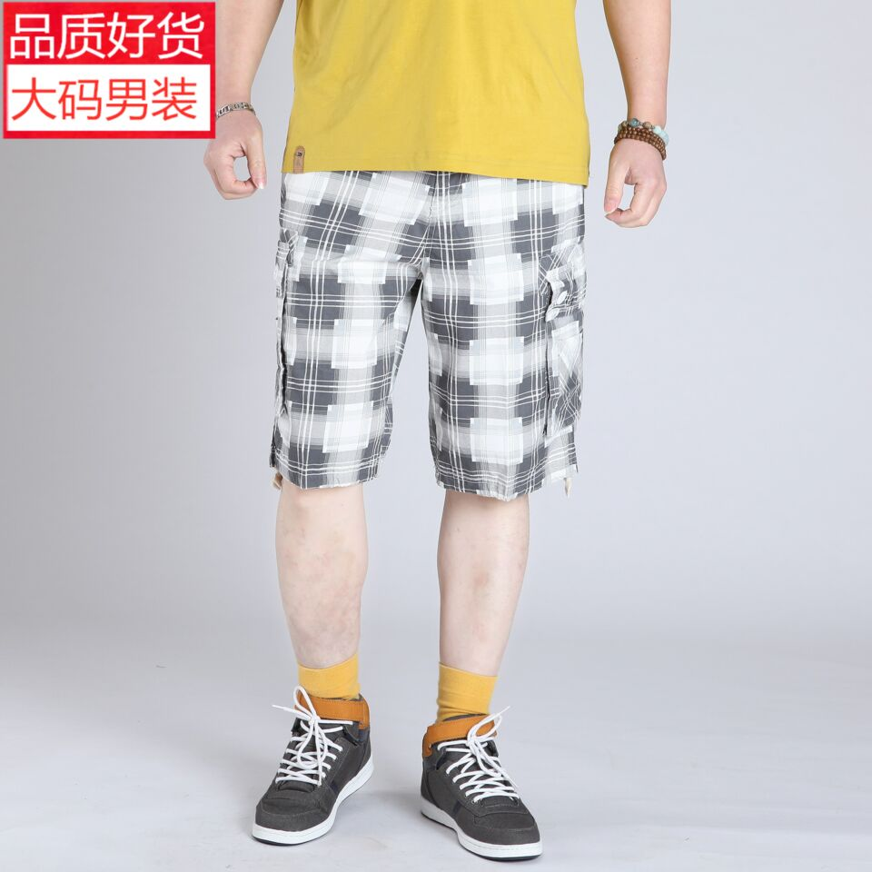 High end brand summer loose large mens casual cotton shorts fattened large thin Plaid Capris fashion