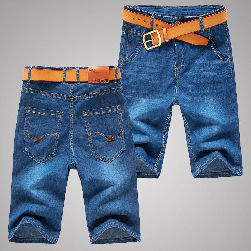 夏季薄款男士牛仔短裤男直筒宽松中裤7七分牛仔裤5五分裤弹力马裤