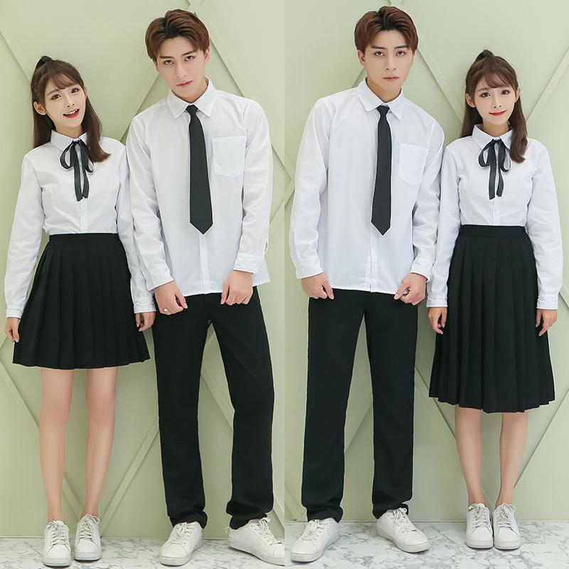 校服女学院风学生班服高中毕业季大合唱情侣演出服校园白衬衫套装