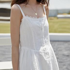 夏天显瘦长裙少女风山本日系遮腹连衣裙冷淡风轻熟度假吊带裙花边