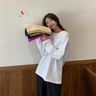 2020年新款 白色长袖 内搭上衣ins超火 宽松洋气打底衫 t恤女韩版 小衫