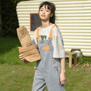 减龄牛仔背带裤学院风女撞色拼接宽松直筒裤学生长裤百搭浅色裤子