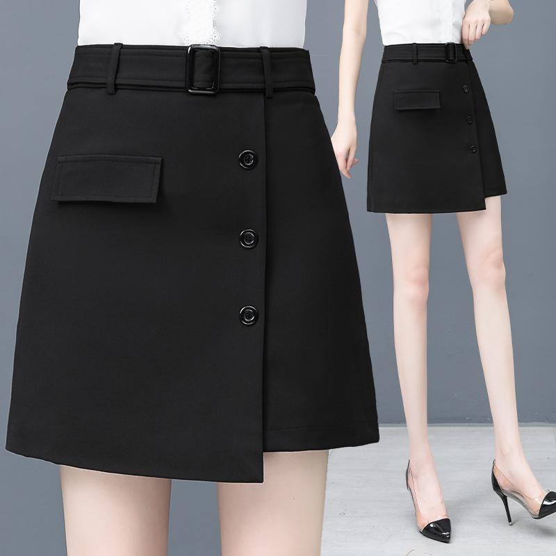 a字型的短裙2020年夏装新款黑色雪纺半身裙气质半裙防走光包臀裙