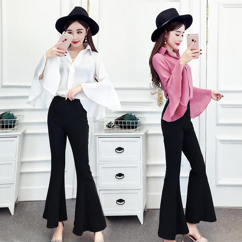 喇叭裤套装2018秋季新款女装韩版时尚宽松气质淑女时髦两件套初秋