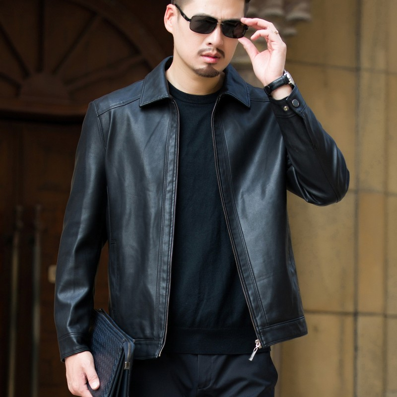 Leather Mens middle-aged soft leather jacket spring and autumn Korean thin jacket lapel solid color casual dad jacket loose jacket