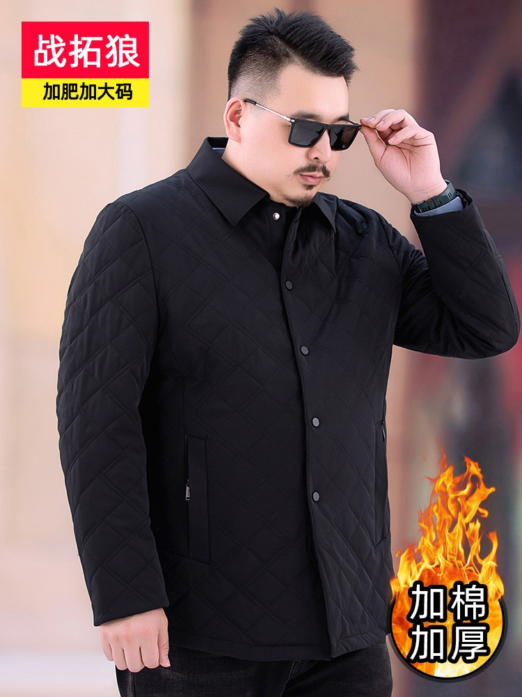 High grade brand middle-aged and elderly dad leisure Lapel coat autumn and winter cotton thickened mens jacket fat loose