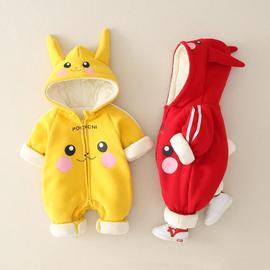 新生婴儿秋冬装男宝可爱卡通连体衣网红女宝保暖外出服0-1岁棉衣3