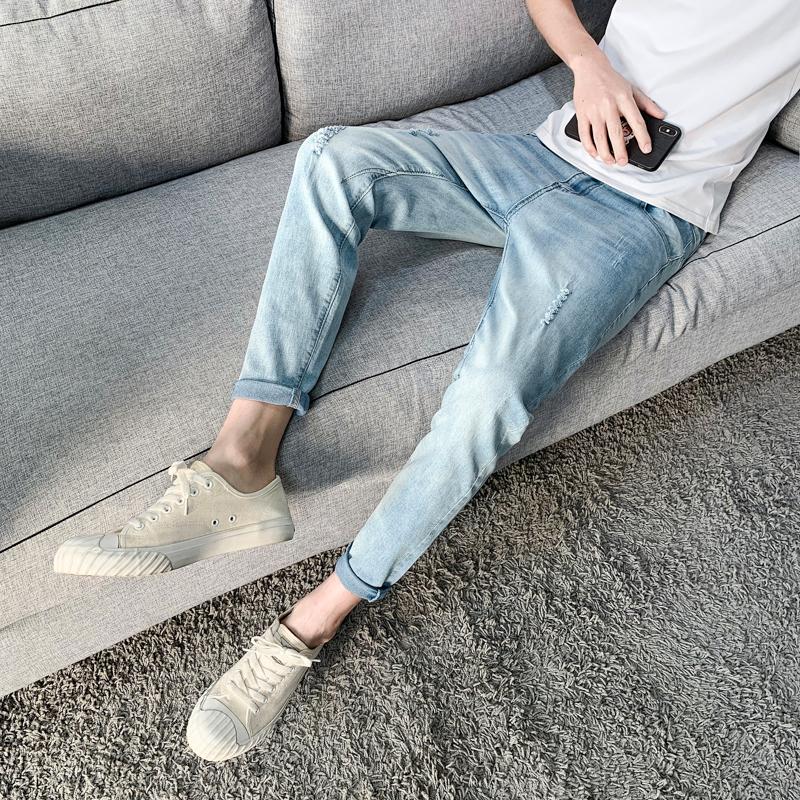 2021新款牛仔裤男士修身小脚裤韩版潮流休闲裤子XZ412-QK001-P45
