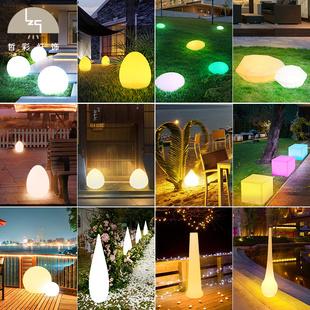 led草坪灯 北欧七彩遥控太阳能户外防水草地庭院灯地插式花园地灯