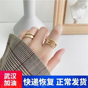 韩国东大门s925纯银戒指ins潮多层缠绕线条时尚个性食指戒不掉色