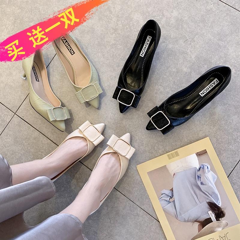 尖头单鞋女中跟细跟女鞋蝴蝶结不磨脚浅色蝴蝶结气质女式休闲时尚