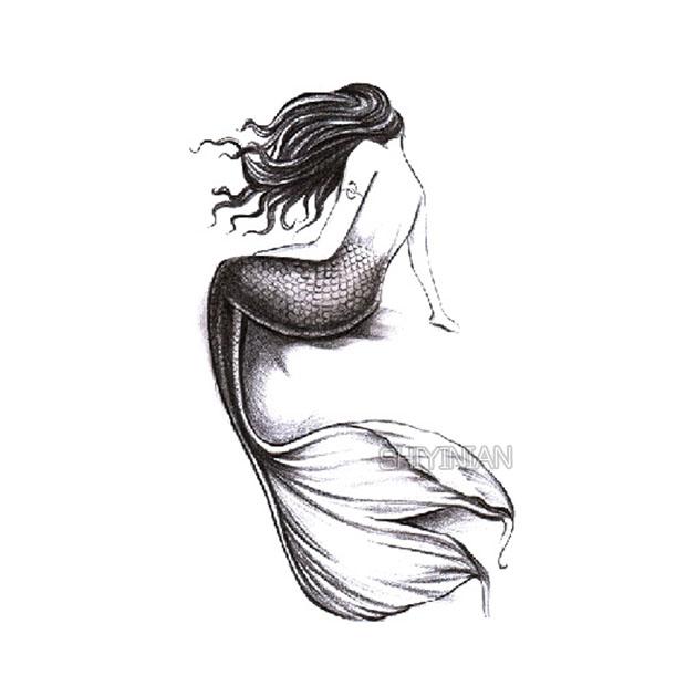 创意美人鱼纹身贴 手绘女生小清新  防水持久遮疤刺青纹身贴纸热销11件限时抢购