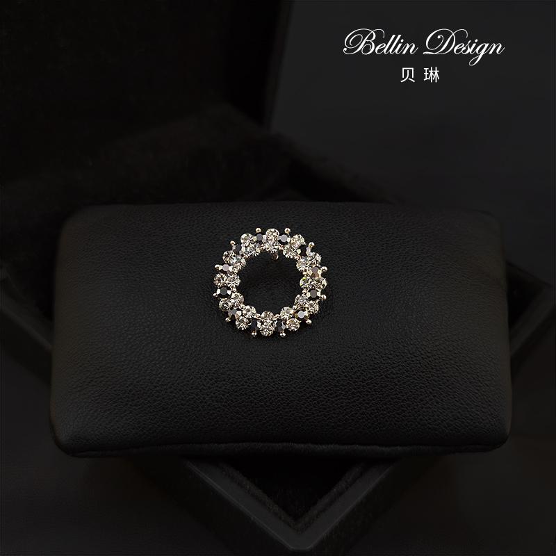 New season top grade round 3389 day button geometric Brooch crystal Korean collar pin accessories versatile pattern Brooch