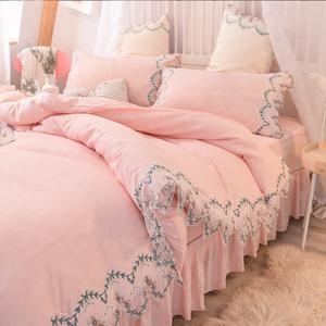 网红款床上用品四件套公主风蕾丝被套床单珊瑚绒床裙款床笠水洗棉