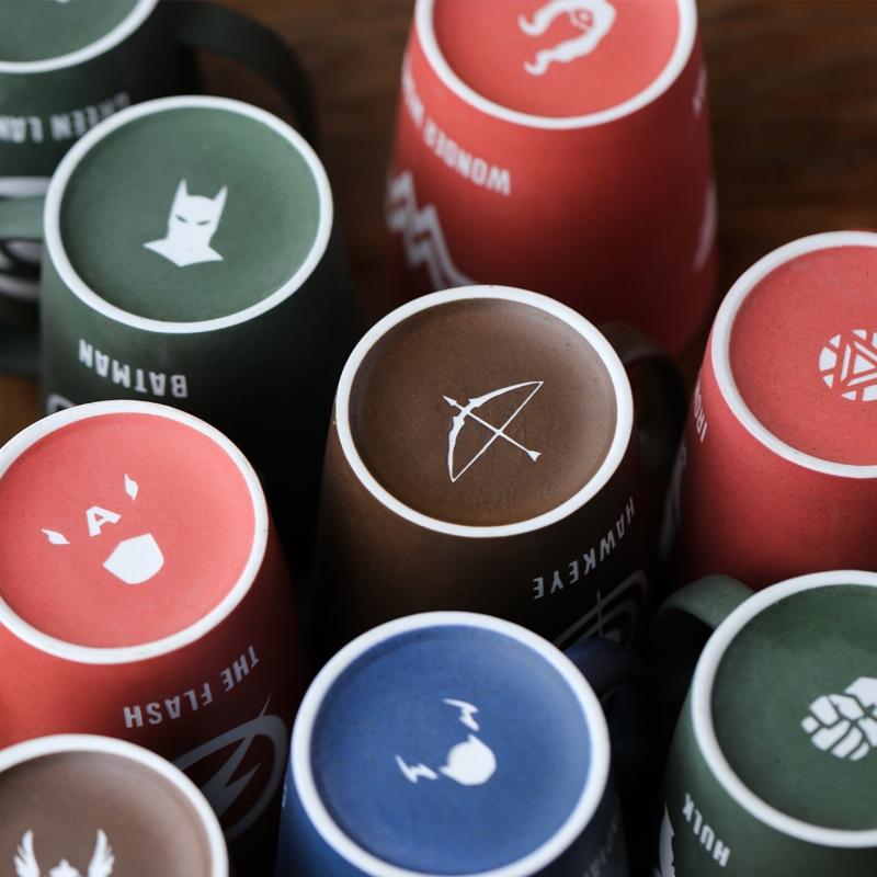 复仇者联盟带盖带勺大容量马克杯水杯磨砂陶瓷杯子办公咖啡杯