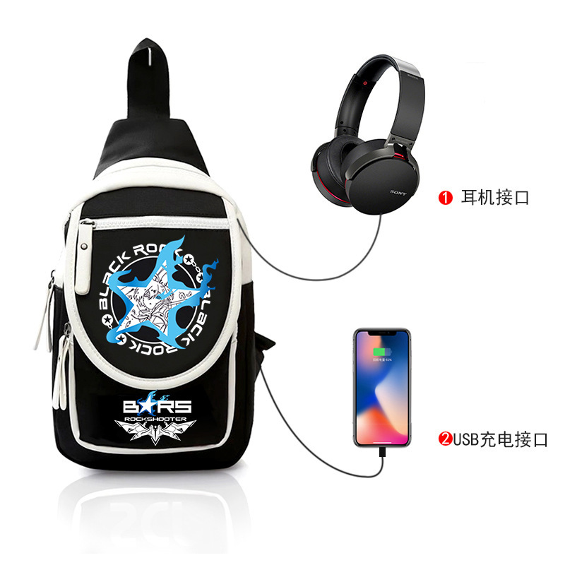 Black rock shooter chest bag BRS blackened initial sound animation male and female students Messenger Bag Shoulder Bag Small Backpack