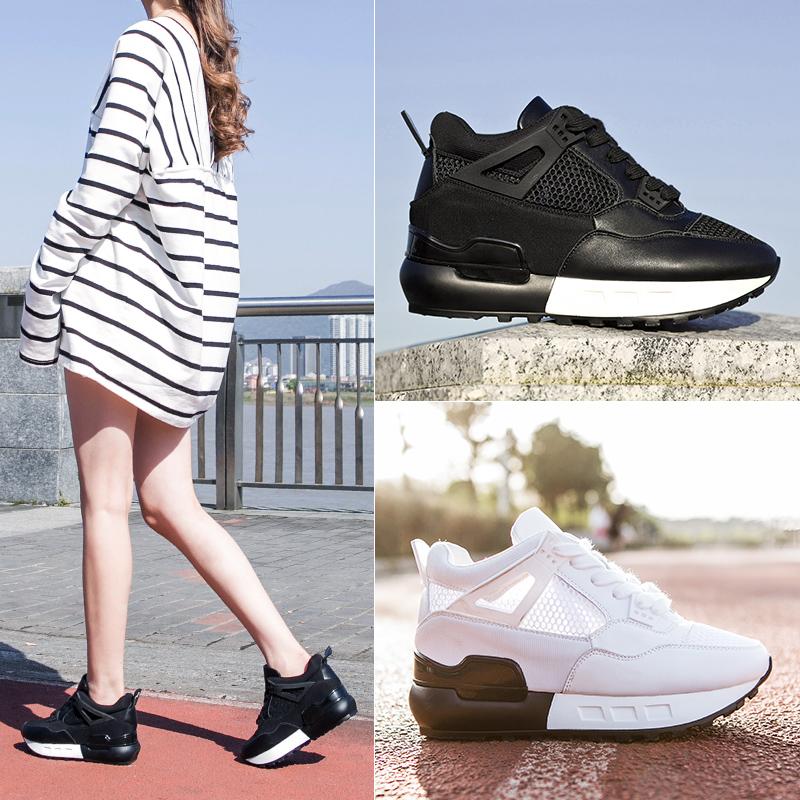 显瘦内增高旅游鞋女系带秋季黑色加绒网鞋休闲鞋女坡跟运动鞋
