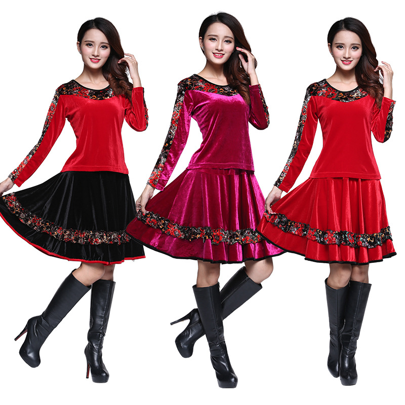 2020新款春秋广场舞蹈服金丝绒中老年女式表演出跳舞长袖裙子套装