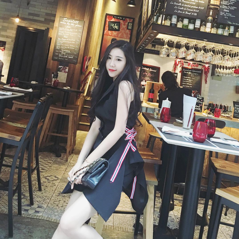 HOTDOG сделанный на заказ корейский тончайший в черный длинная модель безрукавный бандаж костюм воротник талия жилет пальто женщина
