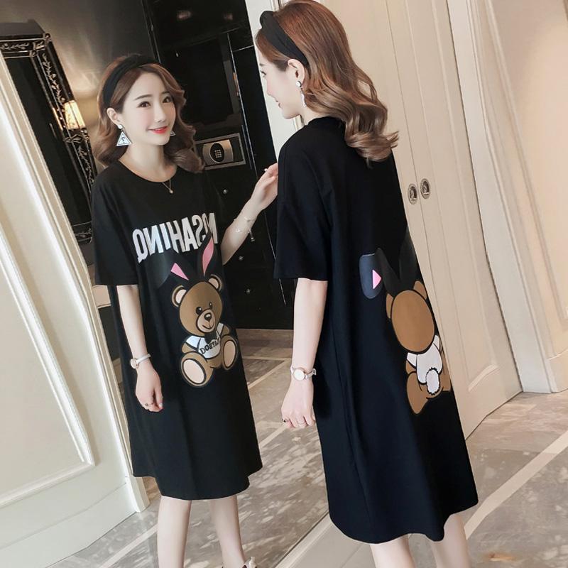 夏装韩版宽松卡通小熊印花中长款短袖T恤裙女体恤上衣连衣裙女潮