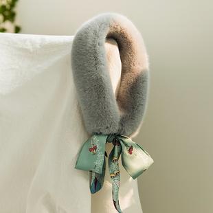 东大门新款ins风毛绒围巾冬季女保暖毛领飘带小围巾百搭学生围脖价格