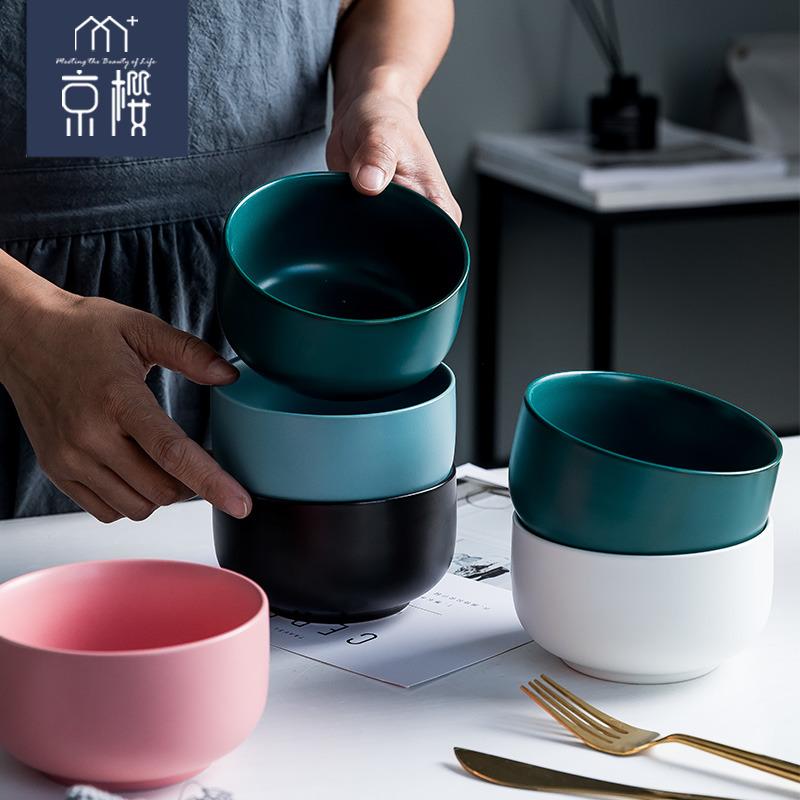 碗创意个性家用单个小碗陶瓷吃饭碗碗碟网红北欧风景德镇餐具套装12.80元包邮