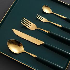 京樱北欧吃牛排刀叉盘子套装不锈钢西餐餐具刀叉勺三件套高档家用