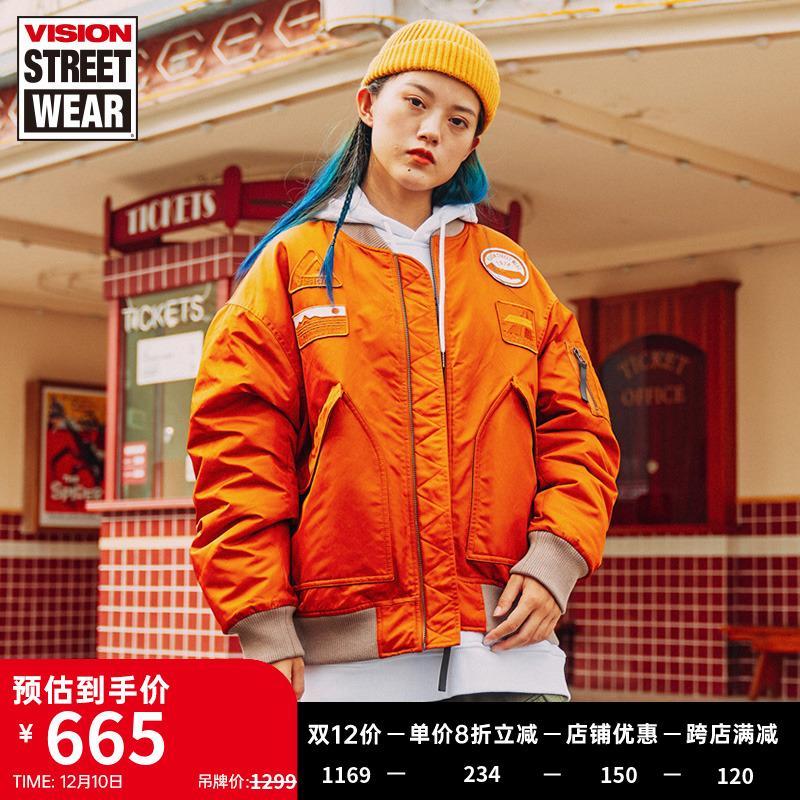 VISION STREET WEAR20秋冬宽松版MA-1飞行夹克火焰logo棉服